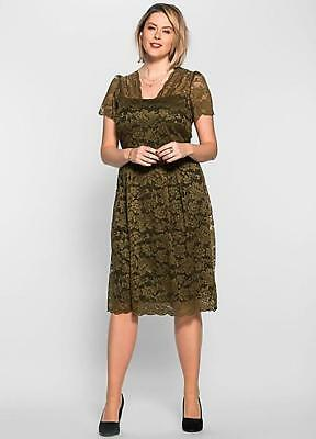 Anna Scholz for Sheego Khaki Green Floral Lace Dress Size 26 £160