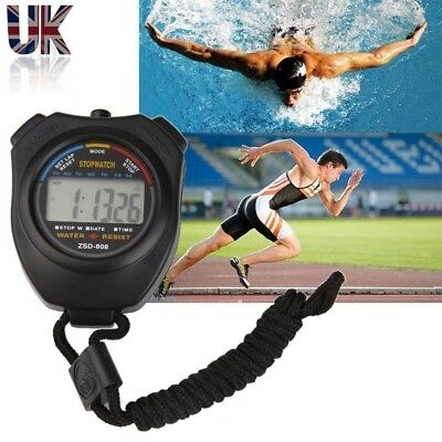 Digital Handheld Sports Stopwatch Stop Watch Timer Alarm Counter Black-UK Seller