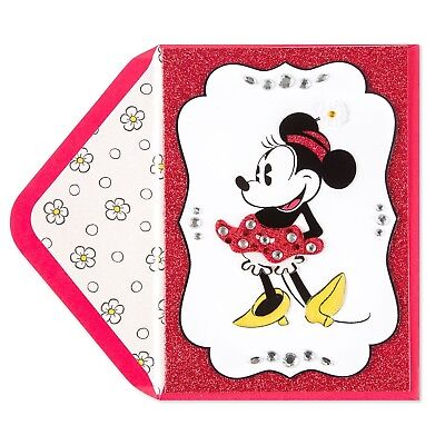 Handmade Minnie Mouse Birthday Card Pinks Black Good For All Ages
