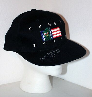 SIGNED Gumby Baseball Cap Hat Art Clokey Sports American Flag Black Adjustable