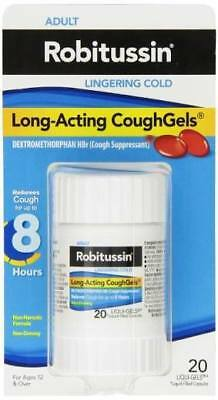 Robitussin Adult Long-Acting Cough Gels 20Ct Dextromethorphan Hbr DXM PILLS AUS