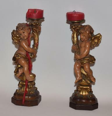"Pair Antique Anri Hand Carved Wooden Cherubs-w/ Cornucopia Candlesticks -8""H"