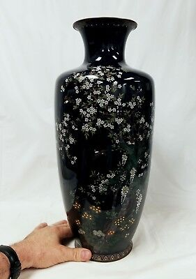 """Huge Fine Antique Japanese Cloisonne' Vase Attributed to OTA 18""""/ 46 cm. height"""