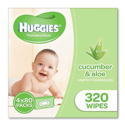Huggies Aloe & Cucumber Baby Wipes 320 Wipes (4 x 80 pack) Clean Lightly Scented