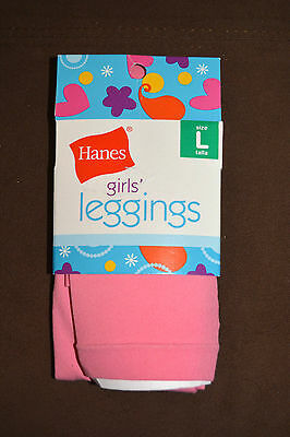 "New w/ tags~Girls Hanes Brand~Pink Nylon Leggins~size Large, 73-95 lbs-56-60"" H"