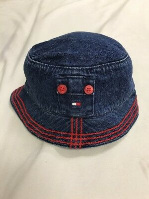 d7ec8719 VINTAGE TOMMY HILFIGER Bucket Hat Cap Blue Red Flag Spell Out ...