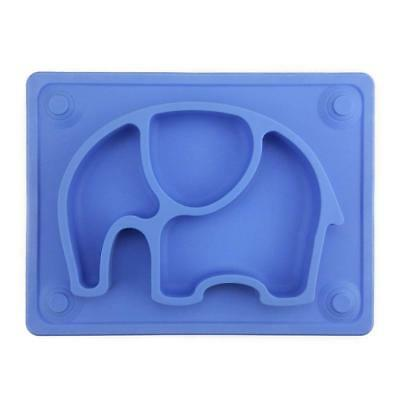 Silivo Baby Placement Blue Tray Elephant Silicone Feeding Plate Suction Cup Cute