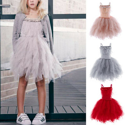 Toddler Baby Kid Girls Fluffy Tutu Ball Gown Birthday Party Flower Girl Dress