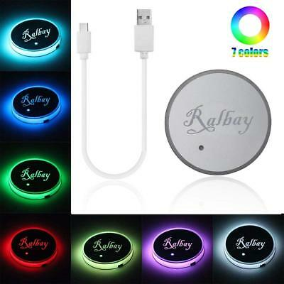 Solar Cup Pad Car LED Light Cover Interior Decoration Lights Color Changing