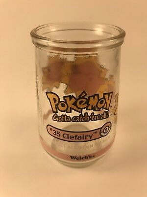"""1999 WELCHES POKEMON SERIES #8 Of 9 CLEFAIRY 4"""" COLLECTABLE GLASS JELLY JAR"""