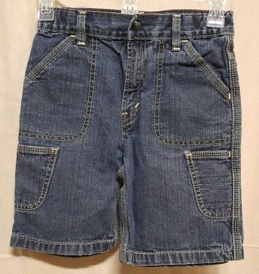 Vtg LEVI'S Boys Size 7X Carpenter Shorts Faded Blue Denim 6 Pocket Triple Stitch