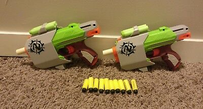 Lot Of 2 Highly Modified Nerf Zombie SideStrike guns With 14 Darts Powerful!
