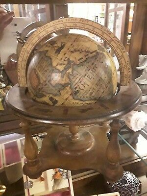 "Antique Old World Italian Wood Tabletop Globe w/ Stand 6"" Diameter"