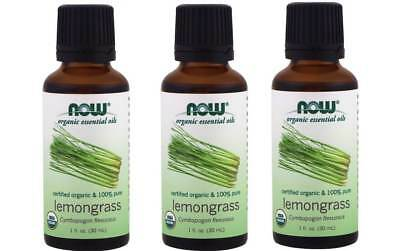 Now Foods - Organic Essential Oils, Lemongrass, 1 fl oz (30 ml) - 3 Packs