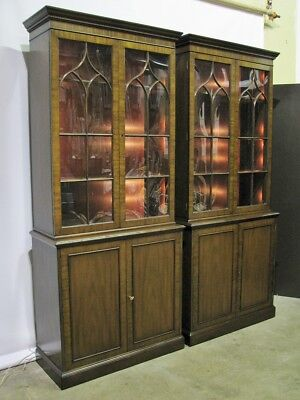 *PAIR* Kittinger Mahogany Illuminated Cabinets; Georgian Gothic Arch Doors