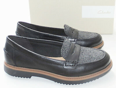 441af317e85 NEW CLARKS BLACK Leather Tweed PENNY LOAFERS Women s Sz 6.5 6-1 2 M ...