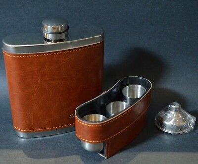 Hip Flask 8 Oz With Funnel and 3 Shot Glasses Stainless Steel Leather Wrap NEW