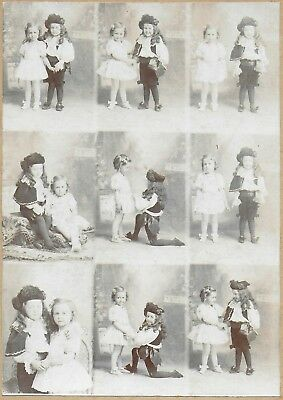 Really Cute Cabinet Photograph of Young Boy & Girl in Costumes – 9 Views