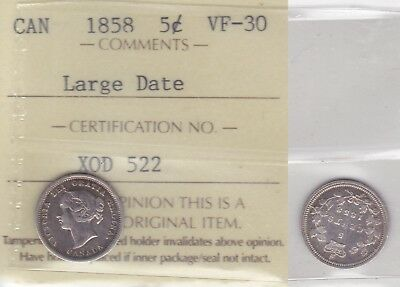 1858 ICCS VF30 5 cents Large Date (8/8 RP3)  Canada five half dime silver fishsc