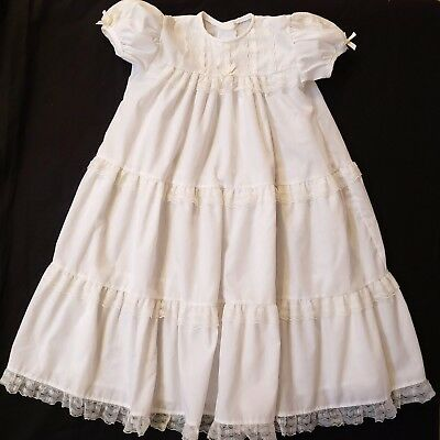 Vintage Alexis Heirloom Ivory Christening Baptism Gown Lace Detail NO SIZE TAG