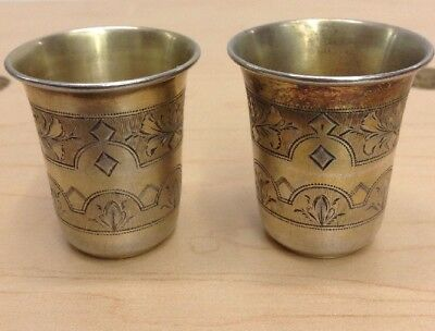 Antique Imperial Russia Russian Judaica Kiddush Cups 84 Silver 1882.