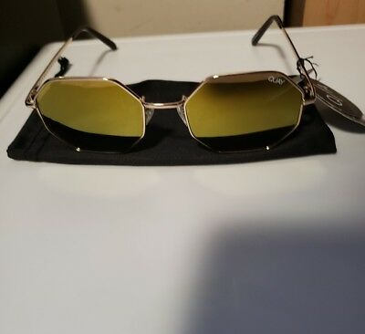 54701e9d9bde7 NEW WITH DEFECTS Quay Australia gold yellow metal octagon sunglasses ...