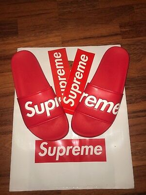 4e43f824be37a1 AUTHENTIC SUPREME SLIDE BOX LOGO RED SLIDES SANDALS -  100.00