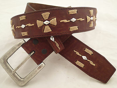 Size 34 Brown Leather Journey Belt Honest by Brighton  NEW