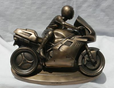 Large Motorcycle Racer Ducati Bronze Resin Sculpture Figurine Summit Collection