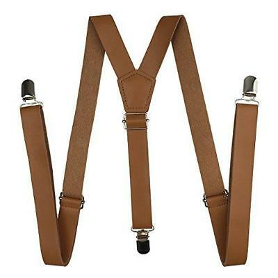 Suspenders Leather, Cinny 1 inch Strap for Men and Women with Metal Clips