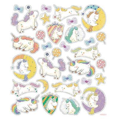 "Unicorn Sticker Sheet Colourful Glitter Accents 6 x 8.25"" Sticker Sheet"