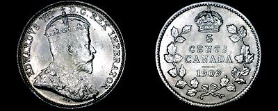 1909 Canada 5 Cent World Silver Coin - Canada - Edward VII - Round Leaves