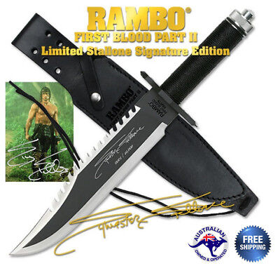 First Blood Bowie Stallone Sylvester Rambo II 2 Knife Signature Limited Edition