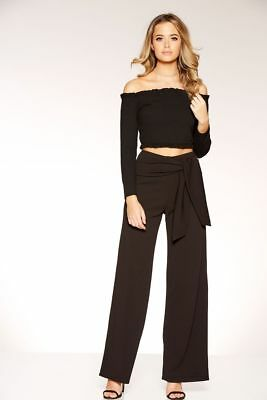 BNWT MISSGUIDED PINK Corset Waist Crepe Wide Leg Trousers Size 8 ... 631acf73e4ae