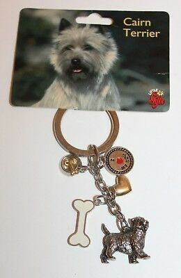 NEW Cairn Terrier Keychain Fob I Love My Dog Key Chain Charms