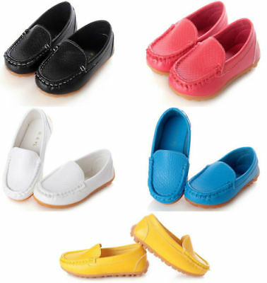 UK Kids Boys Girls Toddler Slip On Flat Loafers Casual Soft Boat Shoes Size