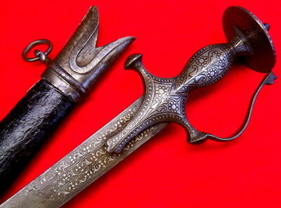 Very Unusual 18th-19th C. Indian Silver Inlaid TULWAR / SHAMSHIR Damascus Sword