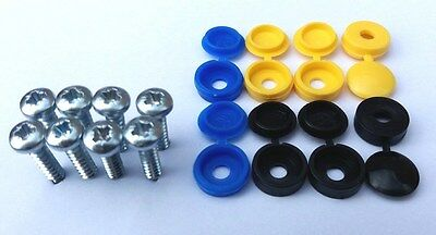 Rear Euro Number Plate screw caps / covers black yellow blue set / kit - Licence