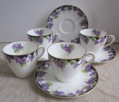 4 vintage ROYAL DOULTON H3747 VIOLETS bone china COFFEE DUOS - CUPS & SAUCERS