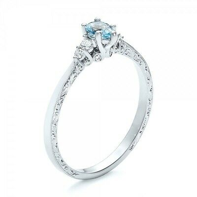 2PC Vintage Simple Design With Crystal For Engagement Wedding Ring Size 6-10