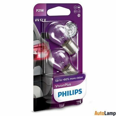 PHILIPS P21W VisionPlus Halogen Indicator 12V 21W BA15s 12498VPB2 Twin