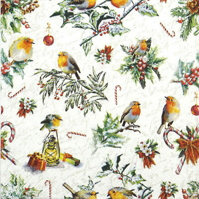 4x Paper Napkins for Decoupage Christmas Ornaments and Robins