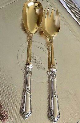 Antique French Sterling Silver / Vermeil Salad Set By Tallois