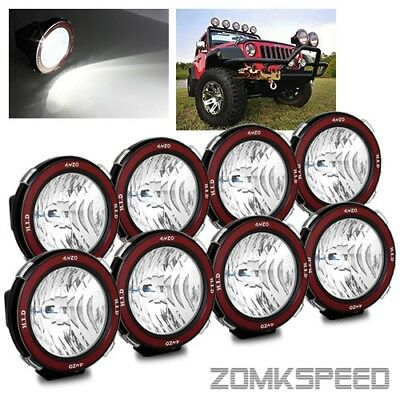 "8 x 55W 6000K HID 7"" Flood Beam Off Road Lights Roof Rack/Bull Bar/Driving/Work"