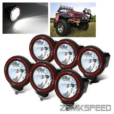 "6 x 55W 6000K HID 4"" Flood Beam Off Road Lights Roof Rack/Bull Bar/Driving/Work"