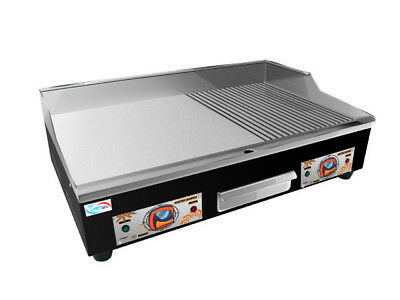 New Electric Griddle Commercial Grade Countertop Flat & Grooved