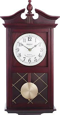 Pendulum Wall Clock Dark Oak Hourly Chime-Automatic Shut Off Bedroom Kitchen