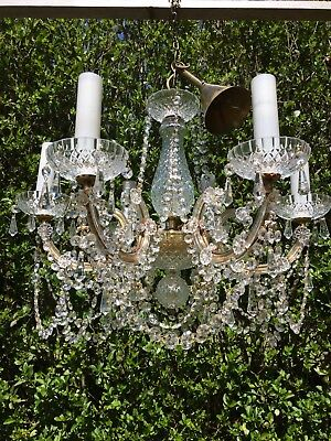 Marie Therese Stunning Vintage Real Crystal Chandelier 6 Arms Glass Candles