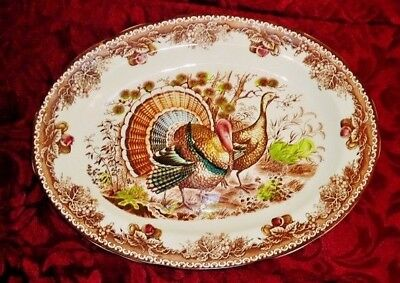 Antique Plate Japanese Large Brown and White Ceramic Bowl Peacocks Flowers