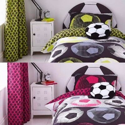 Catherine Lansfield Neon Football Bedding - Duvet Cover Set / Curtains / Cushion